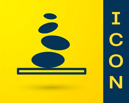 Blue Stack hot stones icon isolated on yellow background. Spa salon accessory. Vector 向量圖像