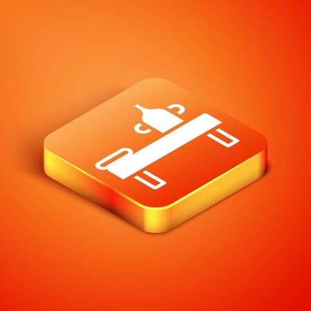 Isometric Massage table with oil icon isolated on orange background. Vector