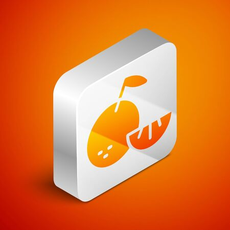 Isometric Citrus fruit icon isolated on orange background. Orange in a cut. Healthy lifestyle. Silver square button. Vector