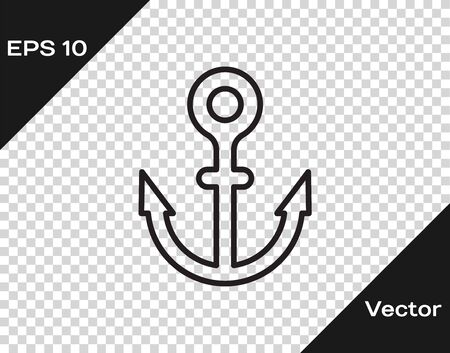 Black line Anchor icon isolated on transparent background. Vector