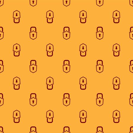 Red Lock icon isolated seamless pattern on brown background. Padlock sign. Security, safety, protection, privacy concept. Vector Ilustracja