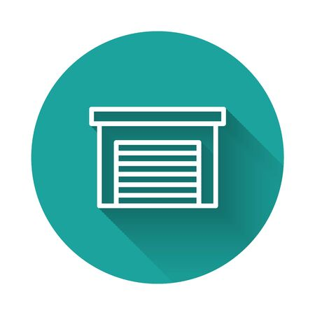 White line Garage icon isolated with long shadow. Green circle button. Vector.