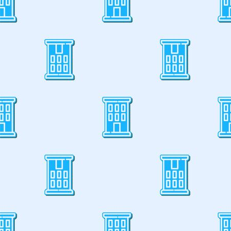 Blue line House icon isolated seamless pattern on grey background. Home symbol. Vector. Ilustracja