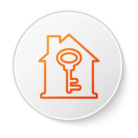 Orange line House with key icon isolated on white background. The concept of the house turnkey. White circle button. Vector. Illustration
