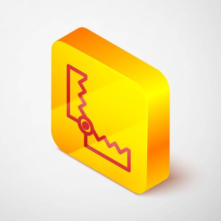 Isometric line Trap hunting icon isolated on grey background. Yellow square button. Vector
