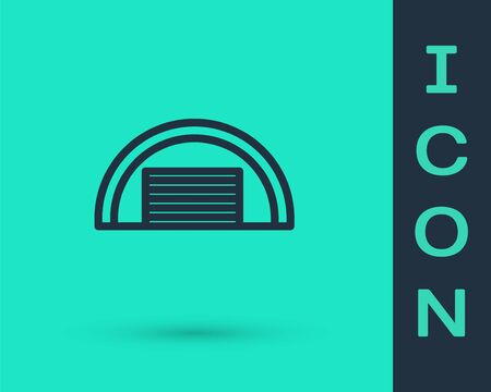 Black line Garage icon isolated on green background. Vector.