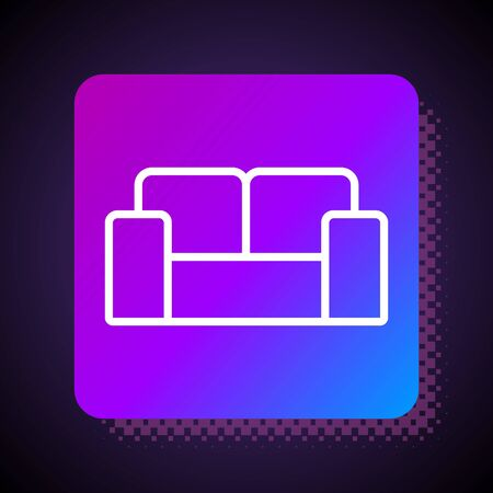 White line Sofa icon isolated on black background. Square color button. Vector.