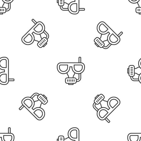 Grey line Diving mask and snorkel icon isolated seamless pattern on white background. Extreme sport. Diving underwater equipment.  Vector.