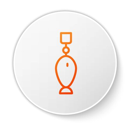 Orange line Fishing spoon icon isolated on white background. Fishing baits in shape of fish. Fishing tackle. White circle button. Vector.