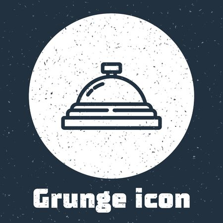 Grunge line Hotel service bell icon isolated on grey background. Reception bell. Monochrome vintage drawing. Vector.