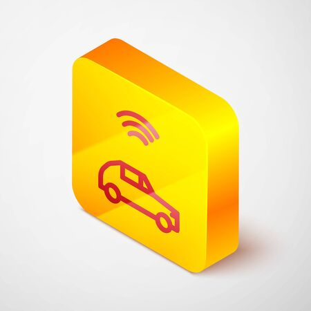 Isometric line Smart car system with wireless connection icon isolated on grey background. Yellow square button. Vector