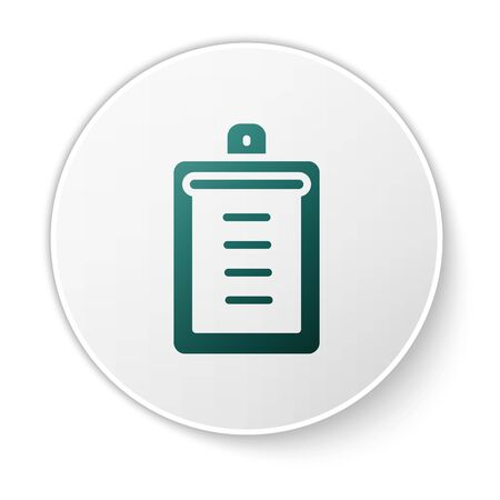 Green Clipboard with checklist icon isolated on white background. Control list symbol. Survey poll or questionnaire feedback form. White circle button. Vector.