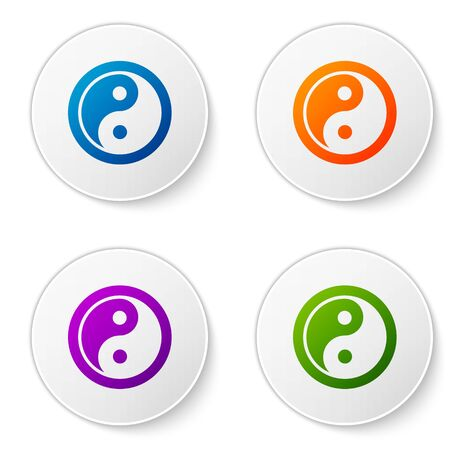 Color Yin Yang symbol of harmony and balance icon isolated on white background. Set icons in circle buttons. Vector