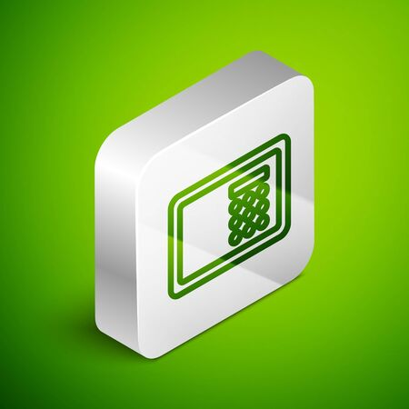 Isometric line Safe icon isolated on green background. The door safe a bank vault with a combination lock. Reliable Data Protection. Silver square button. Vector.