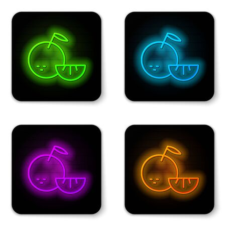 Glowing neon line Citrus fruit icon isolated on white background. Orange in a cut. Healthy lifestyle. Black square button. Vector.