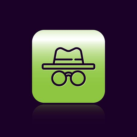 Black line Incognito mode icon isolated on black background. Green square button. Vector. Ilustração