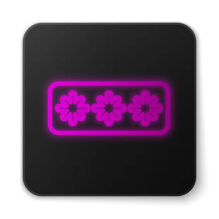 Glowing neon line Password protection and safety access icon isolated on white background. Security, safety, protection, privacy concept. Black square button. Vector
