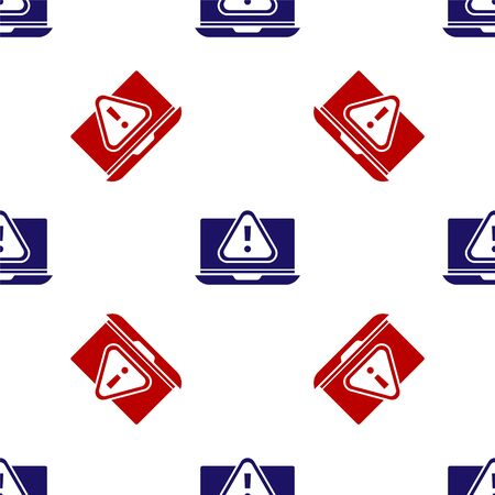 Blue and red Laptop with exclamation mark icon isolated seamless pattern on white background. Alert message smartphone notification.  Vector. Foto de archivo - 150291119