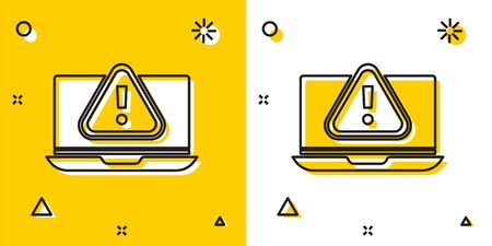 Black Laptop with exclamation mark icon isolated on yellow and white background. Alert message smartphone notification. Random dynamic shapes. Vector. Vectores