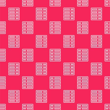 White line Server, Data, Web Hosting icon isolated seamless pattern on red background. Vector