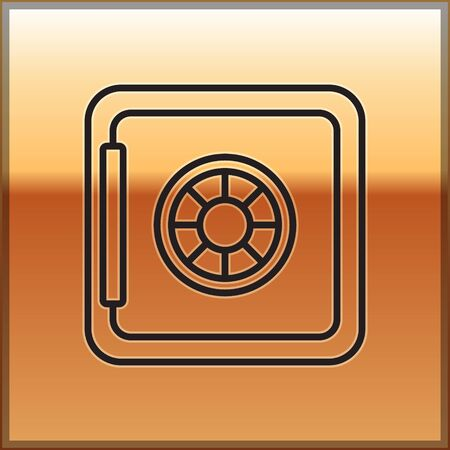 Black line Safe icon isolated on gold background. The door safe a bank vault with a combination lock. Reliable Data Protection. Vector Ilustracja