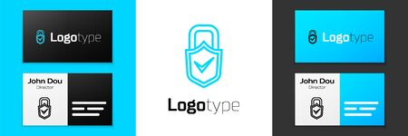 Blue line Open padlock and check mark icon isolated on white background. Cyber security concept. Digital data protection. Safety safety. Logo design template element. Vector