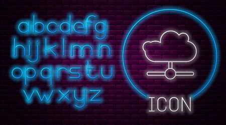 Glowing neon line Network cloud connection icon isolated on brick wall background. Social technology. Cloud computing concept. Neon light alphabet. Vector