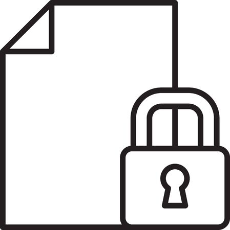 Black line Document and lock icon isolated on white background. File format and padlock. Security, safety, protection concept. Vector