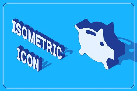 Isometric Piggy bank icon isolated on blue background. Icon saving or accumulation of money, investment. Vector. Ilustracja