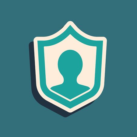 Green Life insurance with shield icon isolated on green background. Security, safety, protection, protect concept. Long shadow style. Vector.