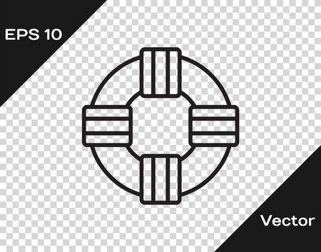 Black line Lifebuoy icon isolated on transparent background. Lifebelt symbol.  Vector.. Illustration