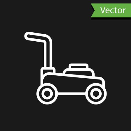 White line Lawn mower icon isolated on black background. Lawn mower cutting grass. Vector.