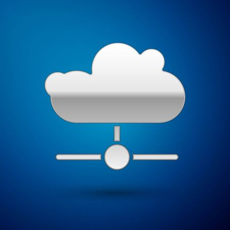 Silver Network cloud connection icon isolated on blue background. Social technology. Cloud computing concept. Vector.