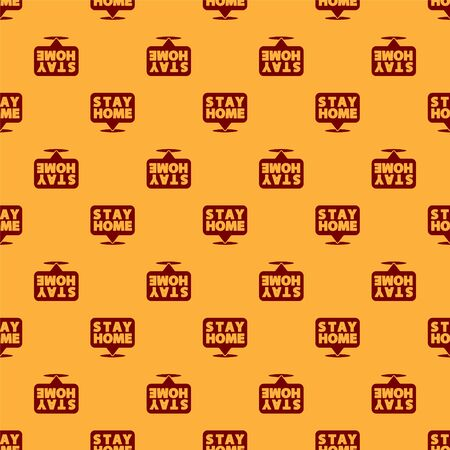 Red Stay home icon isolated seamless pattern on brown background. Corona virus 2019-nCoV.  Vector.. Иллюстрация