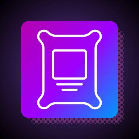 White line Fertilizer bag icon isolated on black background. Square color button. Vector. Ilustração