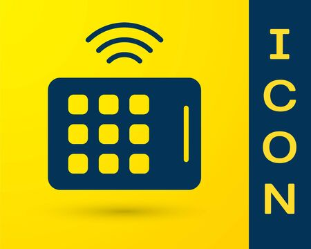 Blue Wireless tablet icon isolated on yellow background. Internet of things concept with wireless connection.  Vector.