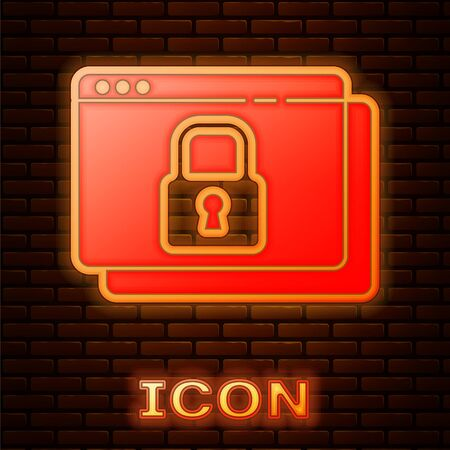 Glowing neon Secure your site with HTTPS, SSL icon isolated on brick wall background. Internet communication protocol. Vector. Ilustracja