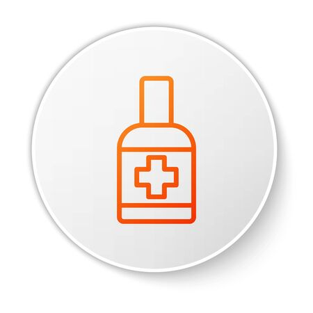 Orange line Bottle of liquid antibacterial soap with dispenser icon isolated on white background. Antiseptic. Disinfection, hygiene, skin care. White circle button. Vector..