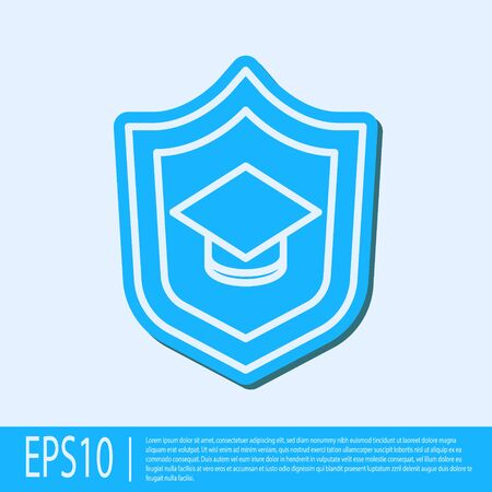 Blue line Graduation cap with shield icon isolated on grey background. Insurance concept. Security, safety, protection, protect concept.