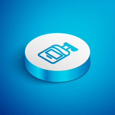 Isometric line Bottle of liquid antibacterial soap with dispenser icon isolated on blue background. Antiseptic. Disinfection, hygiene, skin care. White circle button. Vector.