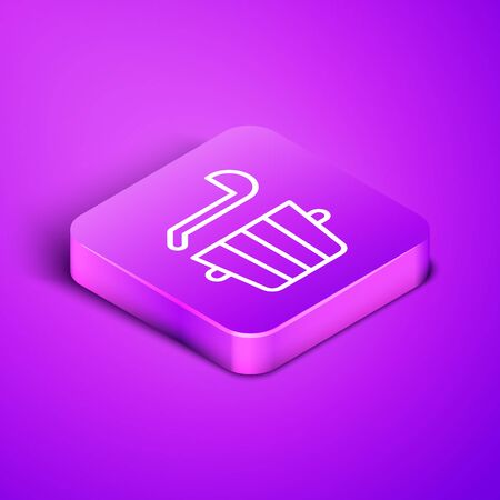 Isometric line Sauna bucket and ladle icon isolated on purple background. Purple square button. Vector. Stock Illustratie