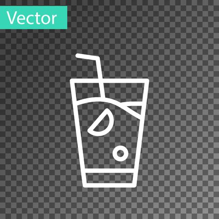 White line Fresh smoothie icon isolated on transparent background.  Vector. Vectores