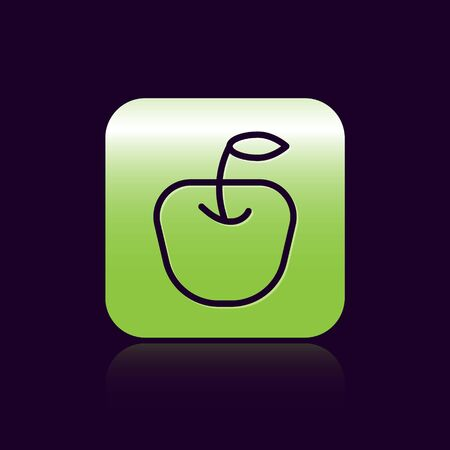 Black line Apple icon isolated on black background. Fruit with leaf symbol. Green square button. Vector. Vectores