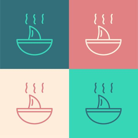 Pop art line Shark fin soup icon isolated on color background.  Vector.. Иллюстрация
