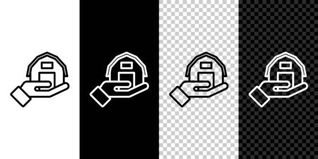 Set line Farm house in hand icon isolated on black and white background. Vector.