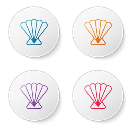 Color line Scallop sea shell icon isolated on white background. Seashell sign. Set icons in circle buttons. Vector..
