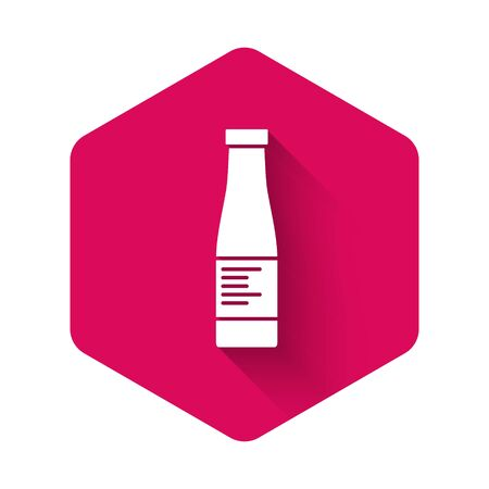 White Sauce bottle icon isolated with long shadow. Ketchup, mustard and mayonnaise bottles with sauce for fast food. Pink hexagon button. Vector..