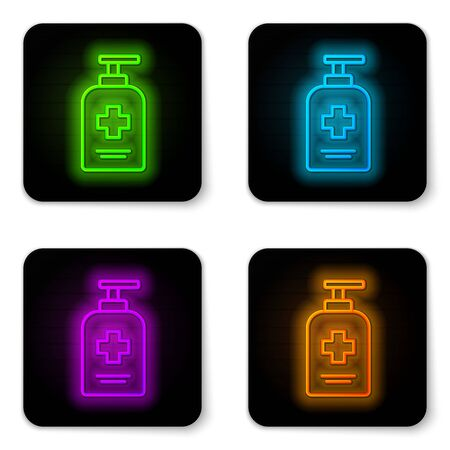 Glowing neon line Bottle of liquid antibacterial soap with dispenser icon isolated on white background. Antiseptic. Disinfection, hygiene, skin care. Black square button. Vector..