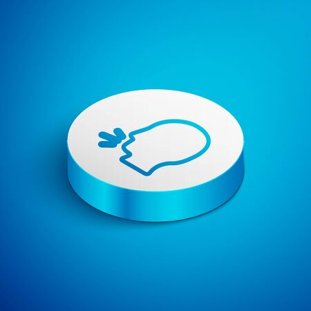 Isometric line Man coughing icon isolated on blue background. Viral infection, influenza, flu, cold symptom. Tuberculosis, mumps, whooping cough. White circle button. Vector...