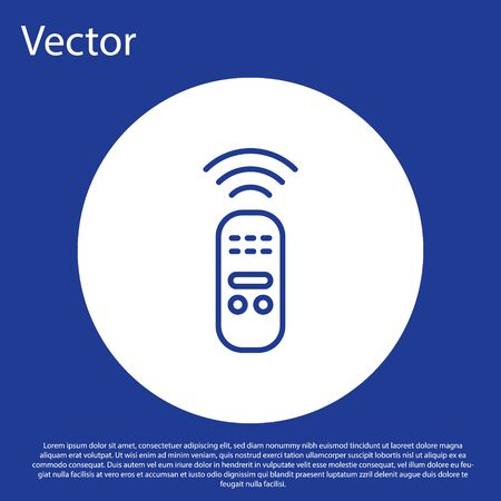 Blue line Smart remote control system icon isolated on blue background. Internet of things concept with wireless connection. White circle button. Vector.